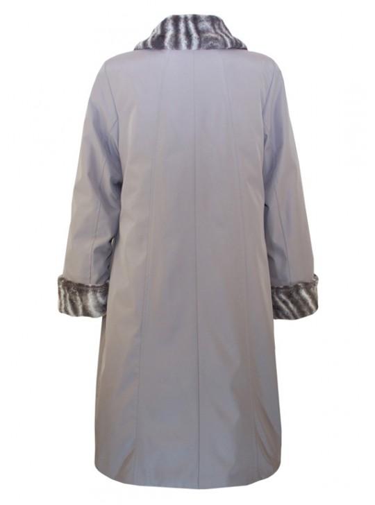 Г-001 Зимний женский плащ-пальто с меховым воротником