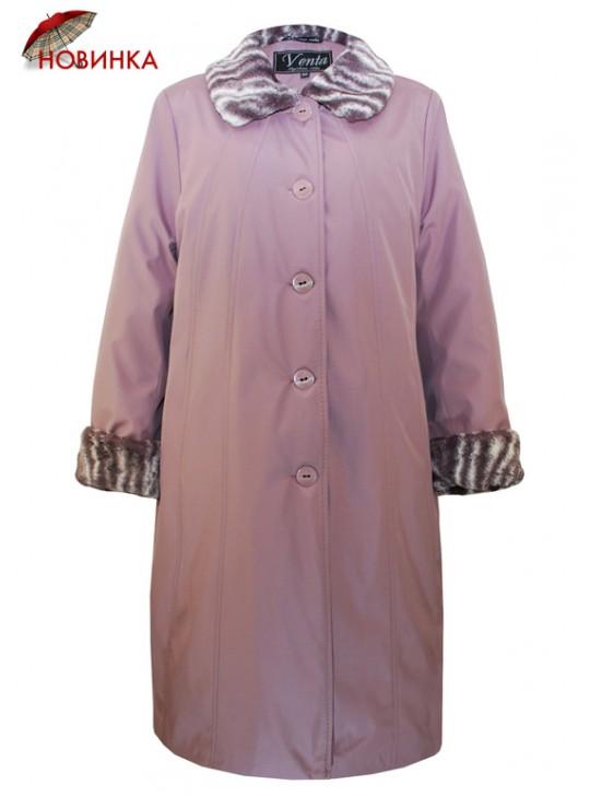 Г-002 Зимний женский плащ-пальто с мехом