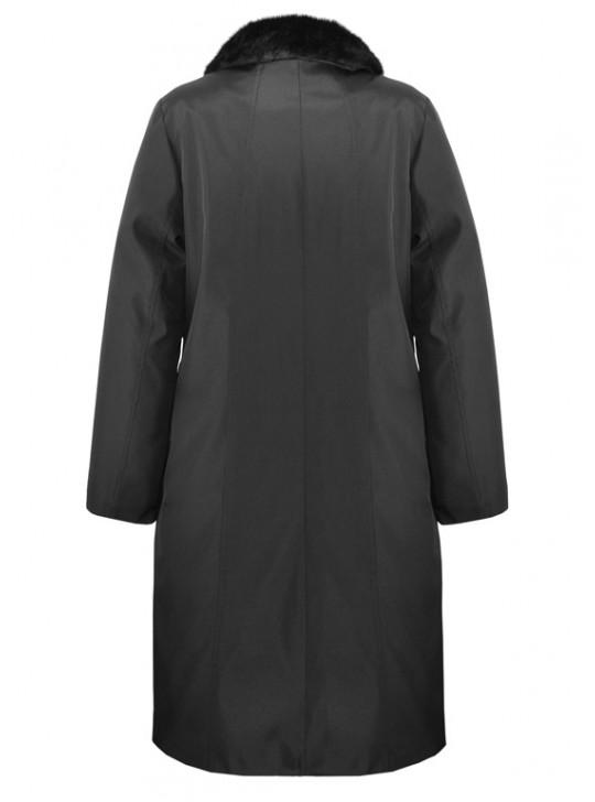 Г-003 Зимний женский плащ-пальто черного цвета с мехом