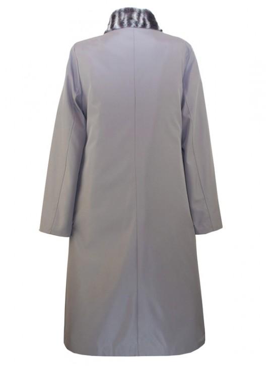 Г-004 Зимний женский плащ-пальто серого цвета