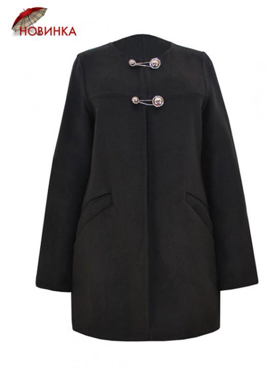 Т-933/Ч Черное летнее пальто приталенного силуэта