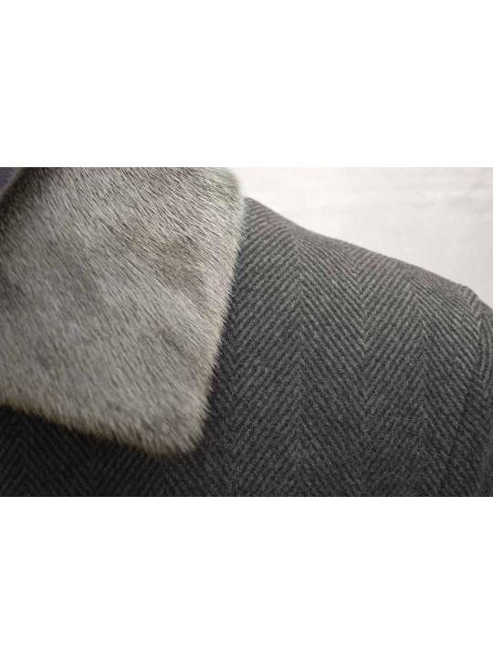 М-201Б/СЗ Утепленное мужское зимнее пальто с натуральным мехом