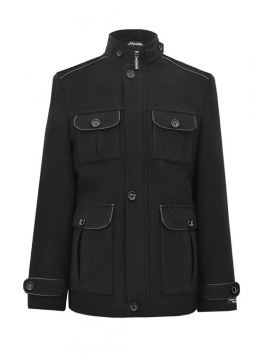 М-106 Мужская черная куртка-пальто