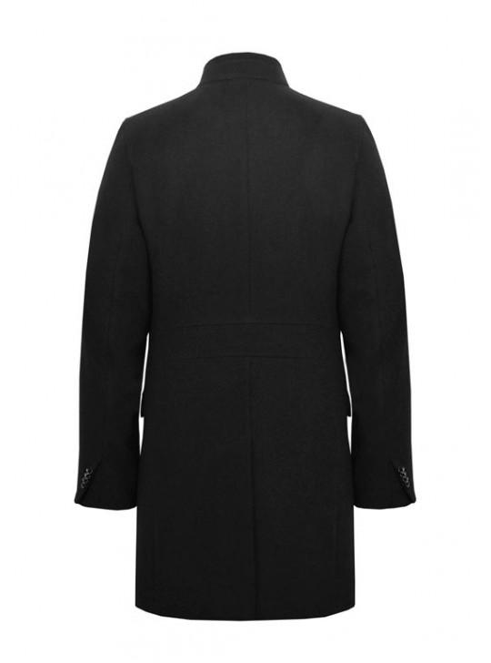 М-212/Ч Черное модное мужское пальто