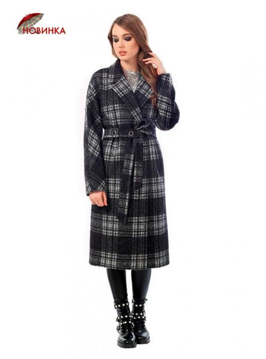 А-2491-2 Элегантное пальто в клетку