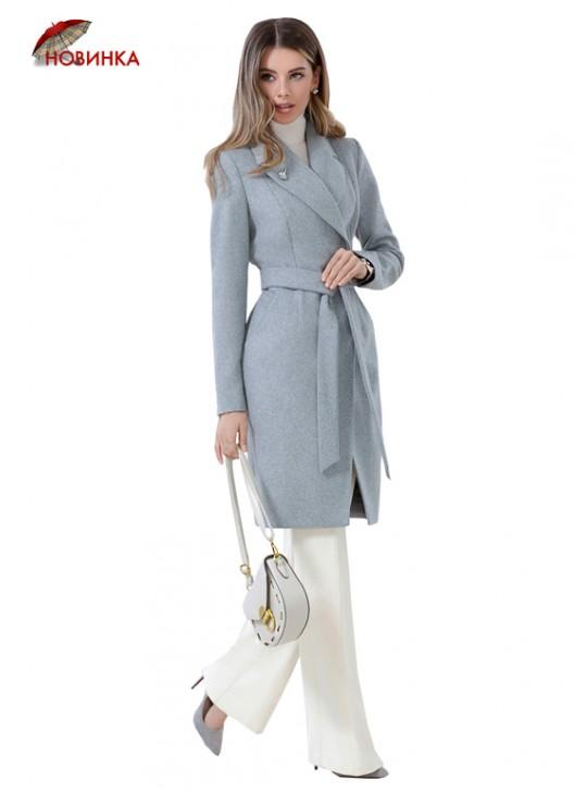 А-2584/Ж Молодежное классическое пальто с брошью