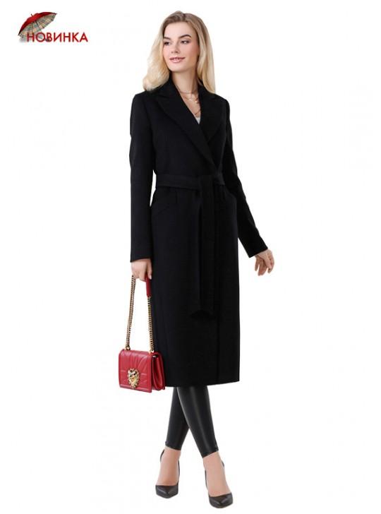 А-2654 Стильное черное пальто