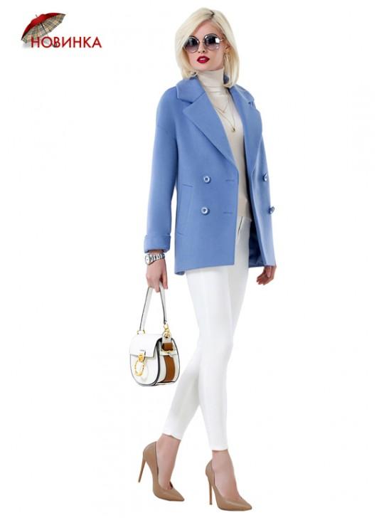 А-2674/В Модное короткое двубортное пальто