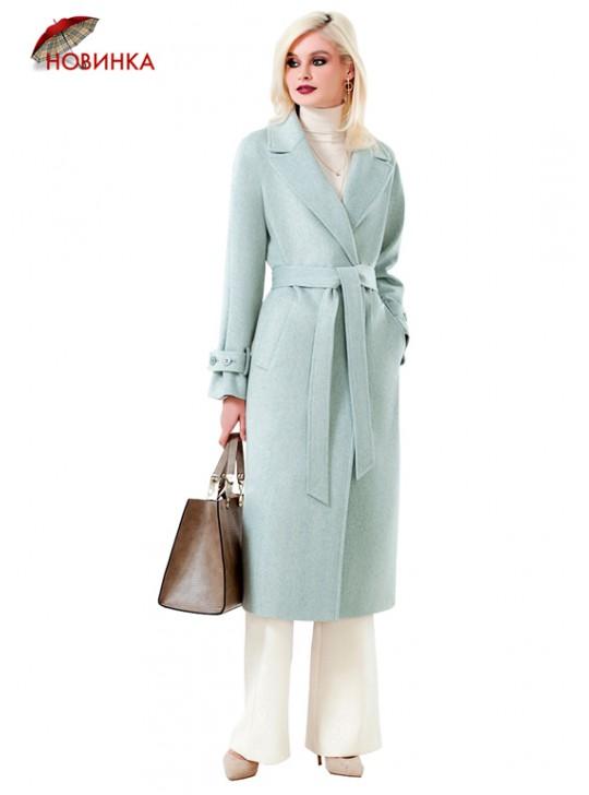 А-2699 Уютное пальто-халат фисташкового цвета