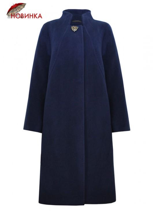 7350/С Классическое женское пальто с элегантной брошью
