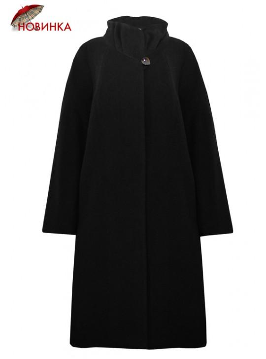 7423 Черное женское пальто из драпа