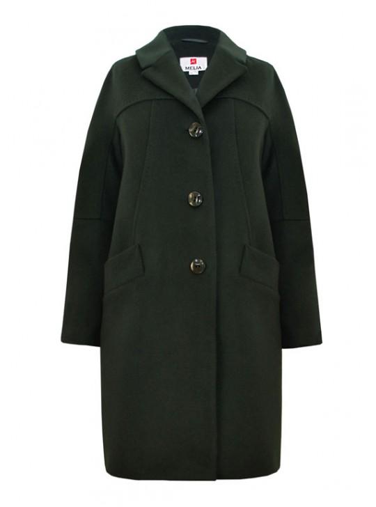 Т-1051 Стильное женское пальто зеленого цвета