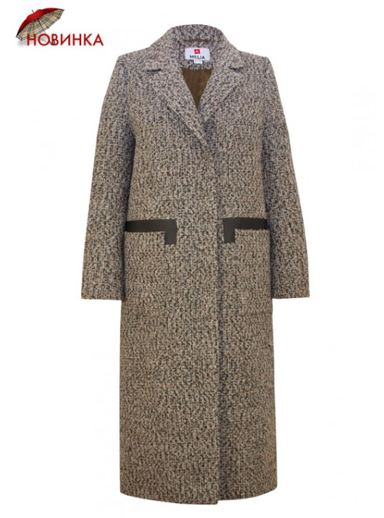 Т-1061/БТ Молодежное длинное пальто с поясом