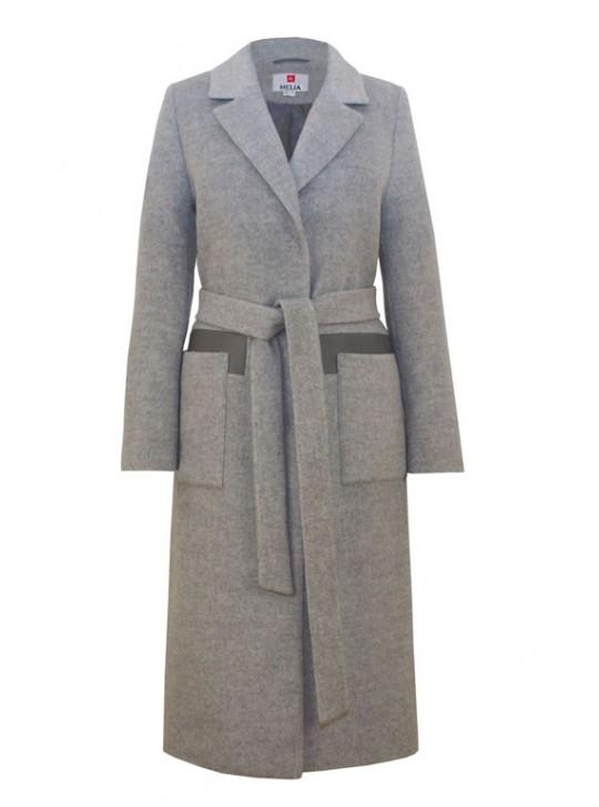 Т-1061/С Молодежное длинное пальто-халат серого цвета