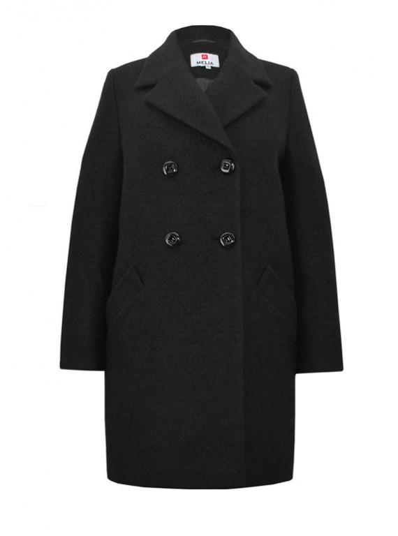 Т-1066 Черное молодежное двубортное пальто силуэта кокон