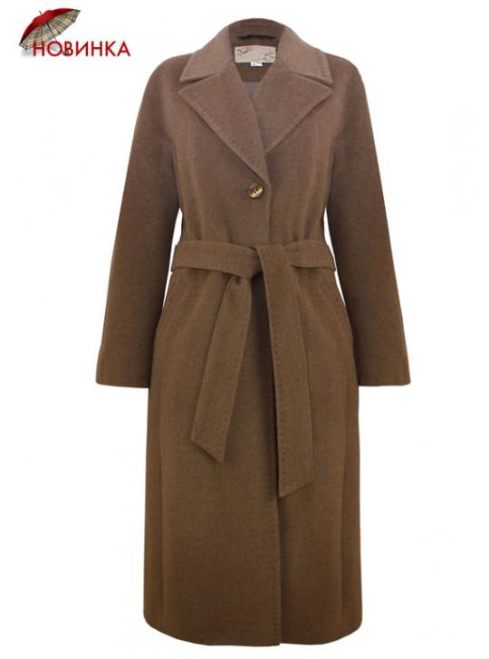 7421/К Стильное женское пальто коричневого оттенка