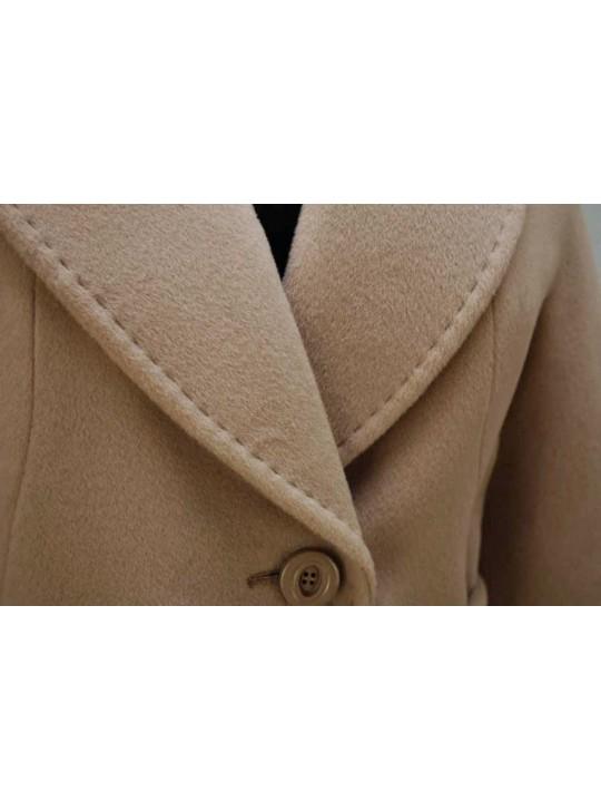 7421/ПБ Длинное классическое женское пальто с поясом
