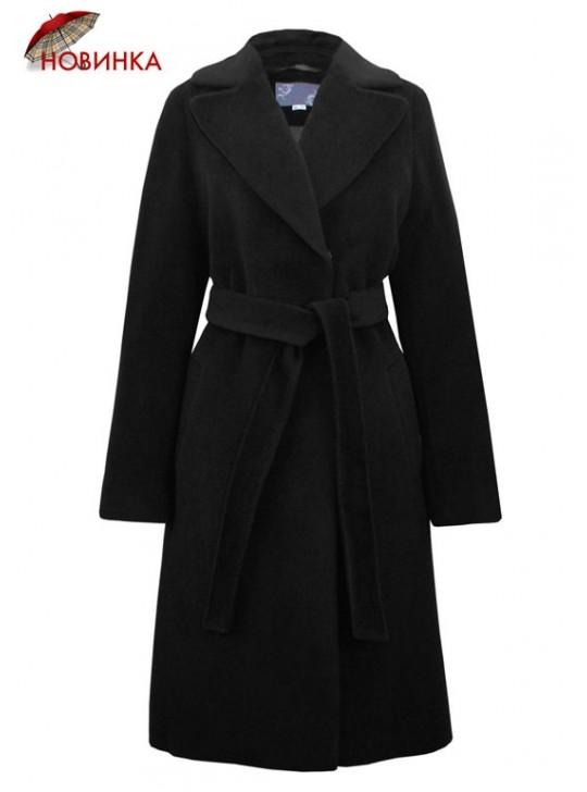 7458/Ч Черное классическое пальто с английским воротником