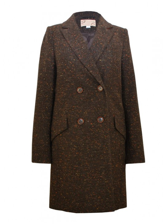 7484 /Т Твидовое двубортное женское пальто