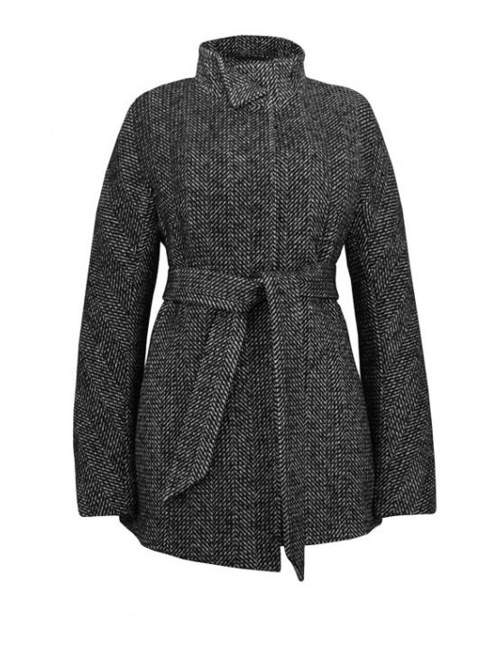 7490/Т Укороченное молодежное пальто из твида-елка