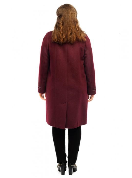 Т-1075/Б Женское пальто бордового цвета