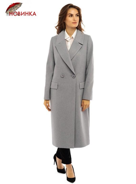 Т-1087 Длинное серое пальто с поясом