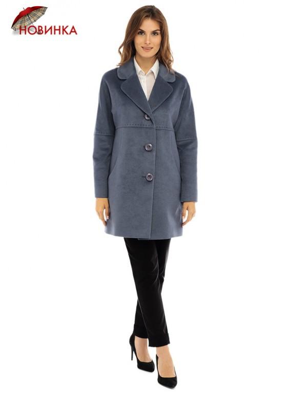 Т-1092 Молодежное пальто серо-голубого цвета