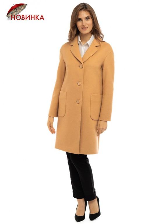 Т-1105/Б Стильное молодежное пальто бежевого цвета