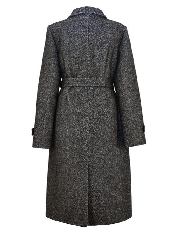 Т-1005/ЧМ Классическое женское пальто на поясе