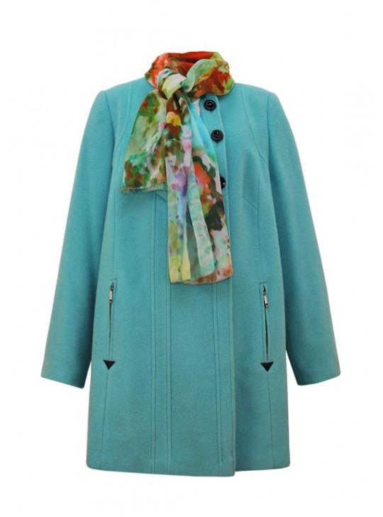 М-3178 Пальто демисезонное с ярким шарфом