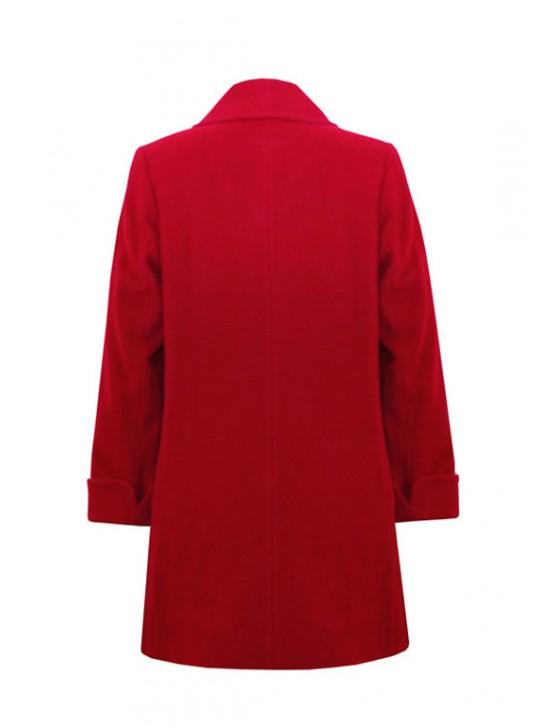 М-3216/К Красное шерстяное пальто с шарфом