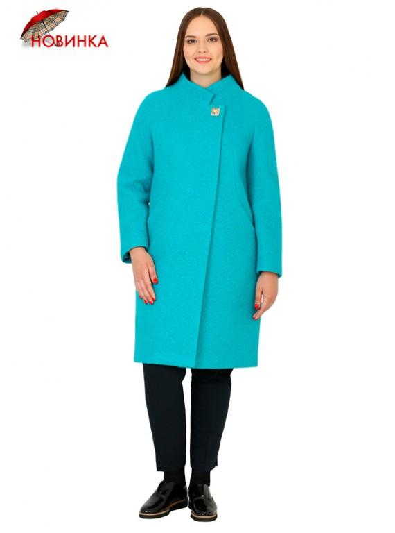 Т-1016/Б Женское пальто бирюзового цвета