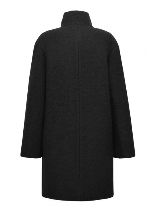 61579/Ч Черное женское пальто на кнопках