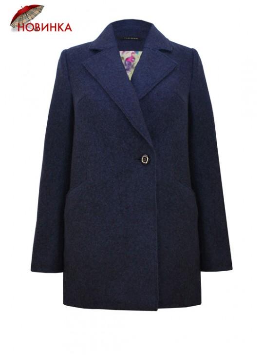 61621/ТС Женское пальто-пиджак синего цвета