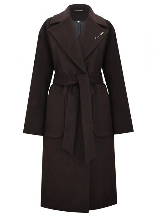 61703/Ш Длинное женское пальто шоколадного цвета