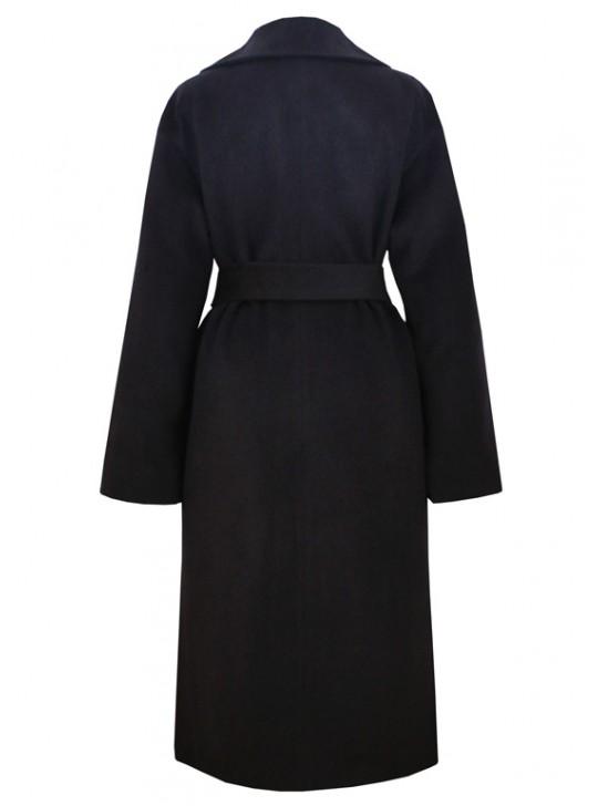 61703/ТС Классическое женское пальто темно синего цвета