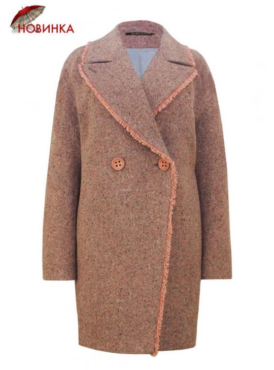 61715 Твидовое женское пальто с бахромой