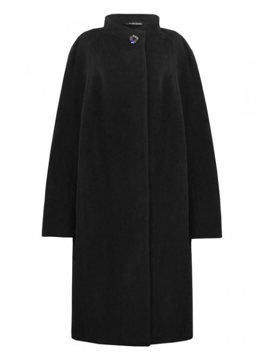 61723/Ч Черное женское пальто с кашемиром