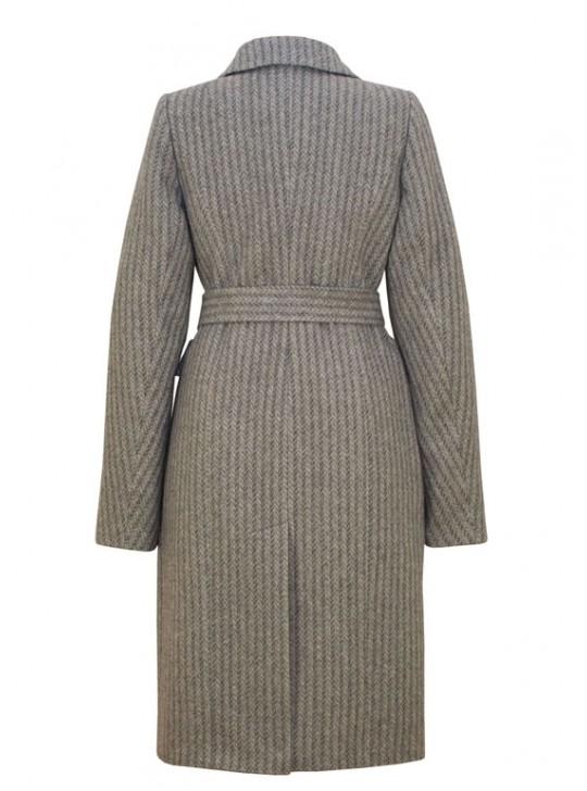 61752 Элегантное удлиненное двуборное пальто