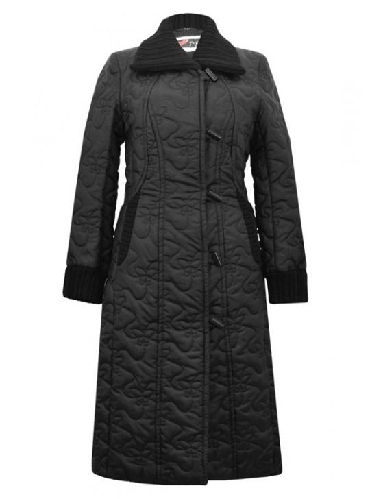 8065/Ч Осенний плащ-пальто с трикотажными вставками