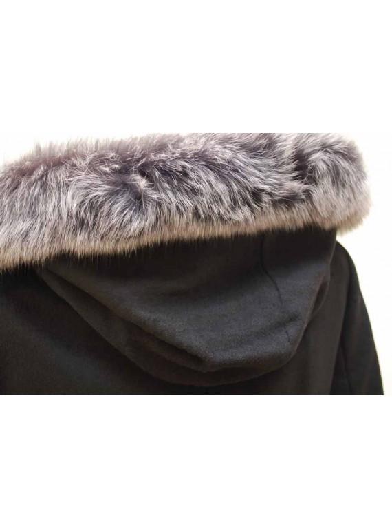 Т-866-61/Ч Зимнее пальто с мехом натуральным