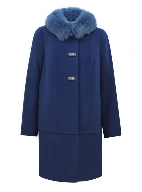 Т-915 Эффектное зимнее пальто с мехом