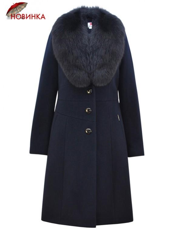 Т-952/С Зимнее пальто с воротником из песца