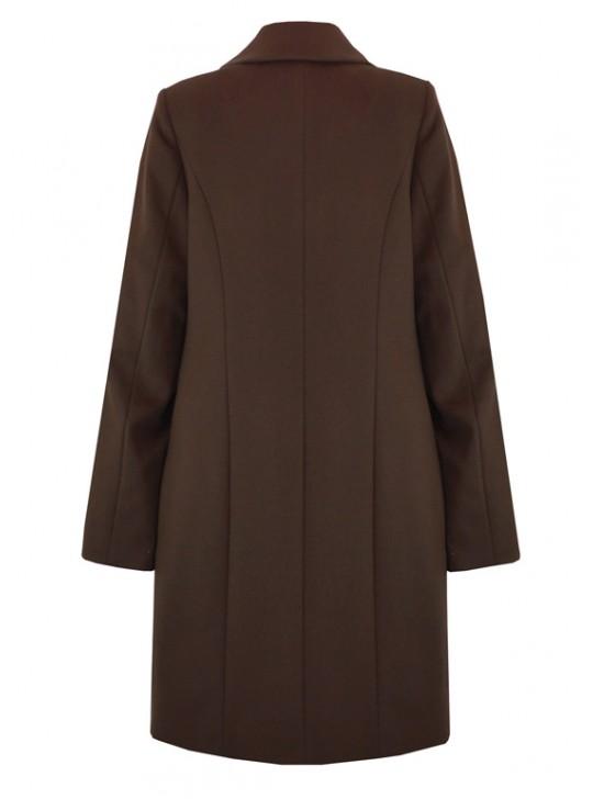 С-1060 Женское классическое коричневое пальто
