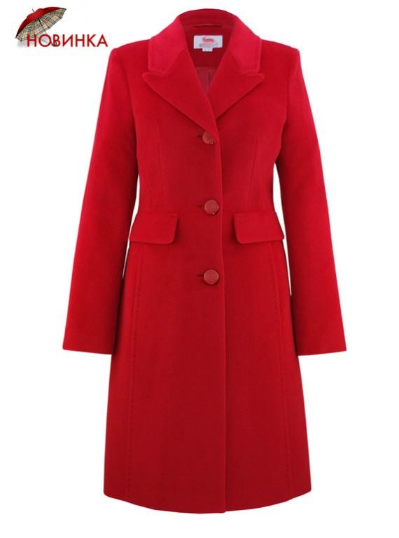 С-1137 Красное женское пальто с ангорой