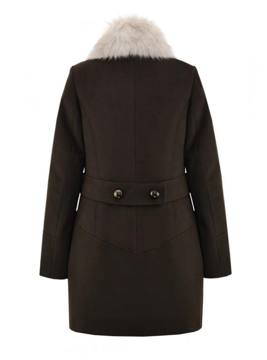 К-1055/Ш Зимнее женское пальто шоколадного цвета