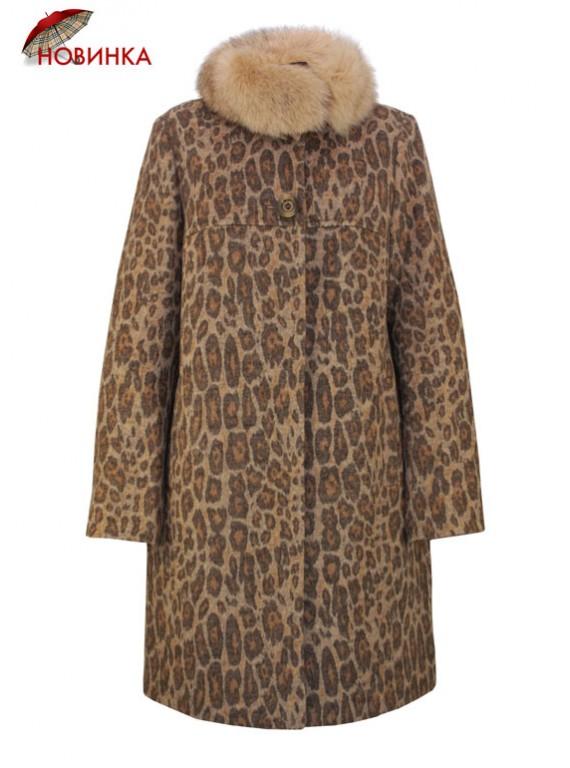 К-1084/Л Зимнее женское пальто с меховым воротником