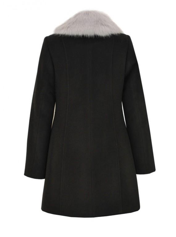 К-1089/Ч Черное двубортное зимнее пальто