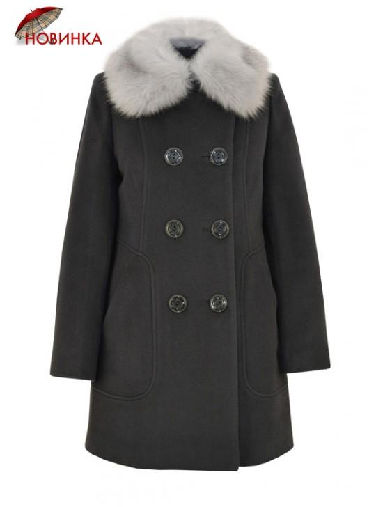 К-1089/С Молодежное женское зимнее пальто серого цвета