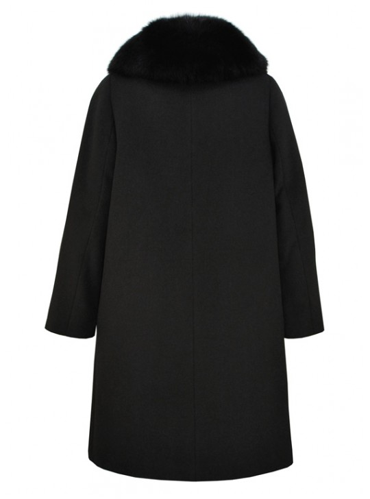 Т-950-60/Ч Черное зимнее женское пальто с воротником из песца